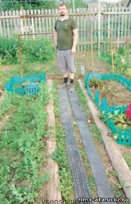 Дорожка из шин в саду