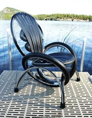 красивый стул из велосипедных шин