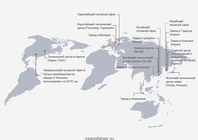 Карта заводов Hankook